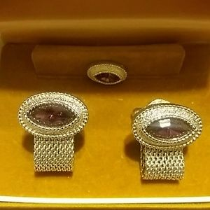 Vintage Swank cuff links and tie clip